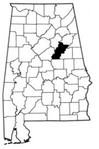 Map of Talladega County