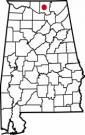 Map of Alabama with the county lines drawn out, Alabama A&M University Administration is highlighted.