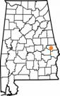 Map of Alabama with the county lines drawn out, Human Development and Family Studies is highlighted.